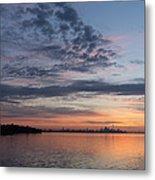 Toronto Skyline In Pastel Blue Pink Yellow Orange And Purple Metal Print