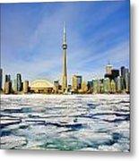 Toronto Skyline In Winter Metal Print