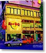 Toronto Street Scene Night Scapes Hard Rock Cafe Downtown Drive By City Lights Canadian Art Cspandau Metal Print