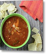 Tortilla Soup With Chips And Fresh Lime On Rustic Wood Backgroun Metal Print