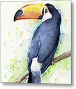 Toucan Watercolor Metal Print