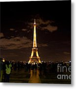 Tour Eiffel At Night With Reflection.  Metal Print