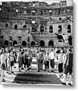 Tour Guide Explains To Group Of British Tourists About Gladiator Pits On The Floor Of The Arena Of The Old Roman Colloseum At El Jem Tunisia Vertical Metal Print