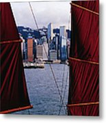 Tourist Boat Junk Sails Framing Metal Print
