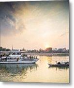Tourist Boat On Sunset Cruise In Phnom Penh Cambodia River Metal Print