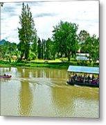 Tourist Raft Being Towed On River Kwai In Kanchanaburi-thailand Metal Print