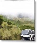 Tourists And Bus Inside The Eravikulam National Park Metal Print