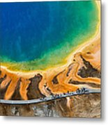 Tourists At Grand Prismatic Metal Print