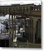 Tourists At The Front Section Of Houseboats Lined Up Along Dal Lake Metal Print