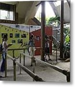 Tourists In A Queue At One Of The Exhibits Inside The Jurong Bird Park Metal Print