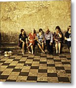 Tourists On Bench - Taormina - Sicily Metal Print