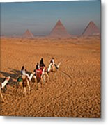 Tourists On Camels & Pyramids Of Giza Metal Print