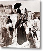 Tourists On Mammoth Terraces Metal Print