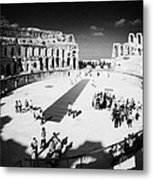 Tourists On The Arena Floor Of The Old Roman Colloseum At El Jem Tunisia Vertical Metal Print