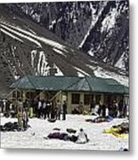 Tourists Surrounded By Snow And Ice Outside One Of The Few Buildings Metal Print