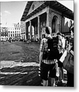tourists watching street performers in covent garden London England UK Metal Print