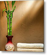 Towels And Bamboo Metal Print