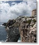 Stunning Tower Over The Cliffs Of Alcafar In Minorca Island - Tower And Sea Metal Print