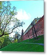 Tower And Wall From Park Outside Kremlin In Moscow-russia Metal Print