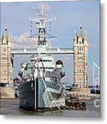 Tower Bridge And Battleship 5863 Metal Print