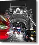 Tower Bridge And Traffic Color Mix Metal Print