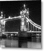 Tower Bridge By Night - Black And White Metal Print by Melanie Viola