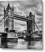 Tower Bridge In London Uk Black And White Metal Print