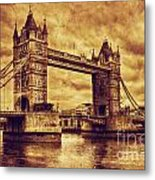 Tower Bridge In London Uk Vintage Style Metal Print