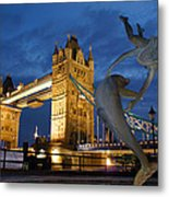 Tower Bridge The Dolphin And The Girl Metal Print
