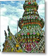Tower Closeup Of Buddhist Temple At Grand Palace Of Thailand  Metal Print
