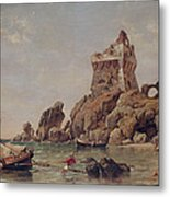 Tower Of Erchia, Gulf Of Salerno, 1849 Oil On Canvas Metal Print