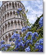 Tower Of Pisa With Blue Flowers Metal Print