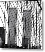 Towers From The Brooklyn Bridge 1990s Metal Print by John Rizzuto