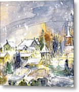 Town By The Rhine Falls In Switzerland Metal Print