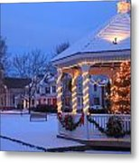 Town Common Holiday Scene Brookfield Massachusetts Metal Print