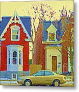 Town Houses In Winter Suburban Side Street South West Montreal City Scene Pointe St Charles Cspandau Metal Print