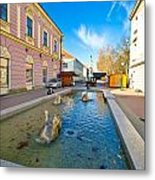 Town Of Bjelovar Square Fountain Metal Print