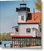 Town Of Edenton Roanoke River Lighthouse In Nc Metal Print