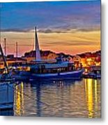 Town Of Vodice Harbor And Monument Metal Print