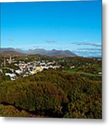 Town On A Hill With 12 Pin Mountain Metal Print