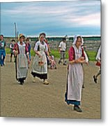 Townsfolk On Main Street In Louisbourg Living History Museum-174 Metal Print