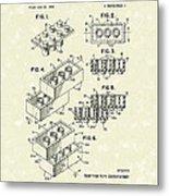 Toy Building Brick 1961 Patent Art Metal Print