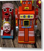 Toy Robot And Train Metal Print