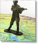 Toy Solider On Iraq Map Metal Print