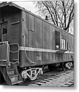 Tpw Rr Caboose Black And White Metal Print