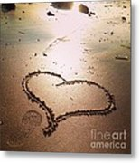 Tracks Of Love In The Sand Metal Print
