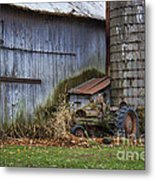 Tractor And Barn On Cloudy Day Metal Print