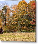 Tractor In Autumn New England Field Metal Print