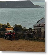 Tractor In Red Metal Print