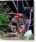 Tractor In Shed Metal Print
